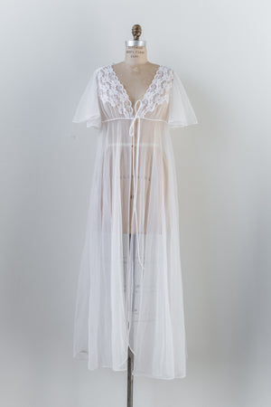 1960s Lace and Nylon Dressing Gown - S/M