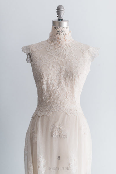 1960's Corded Lace Trained Wedding Gown - S