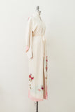 Vintage Ivory and Pink Embroidered Kimono - One Size
