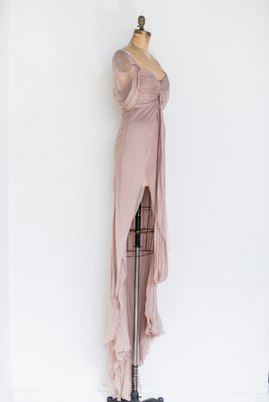 RENTAL Silk Mauve Split Gown - XS/S