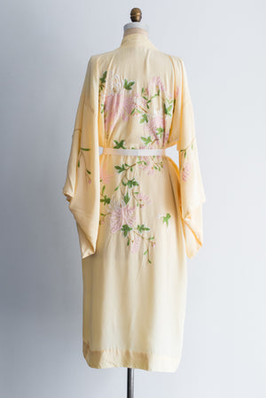 1940s Crepe Yellow Floral Embroidered Kimono - One Size