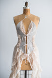 Vintage Grey and Ecru Lace Negligee - M