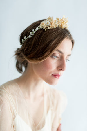 1930s Blossoms and Calla Lily Wax Tiara - One Size