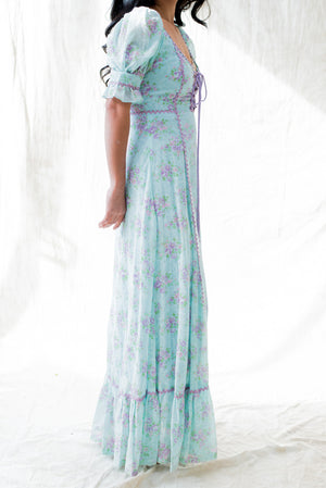1970s I. Magnin Cotton Floral Short Sleeve Maxi Dress - XXS