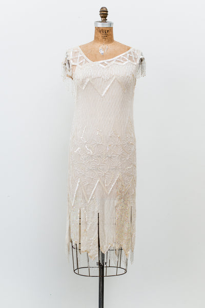 1980s Flapper Style Geometric Silk Beaded Dress - S/M
