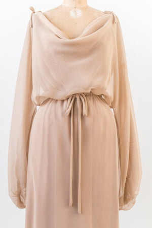 RENTAL Taupe Chiffon Off The Shoulder Dress - S