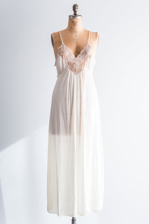 1950s Lace and Nylon Nightgown - M/L