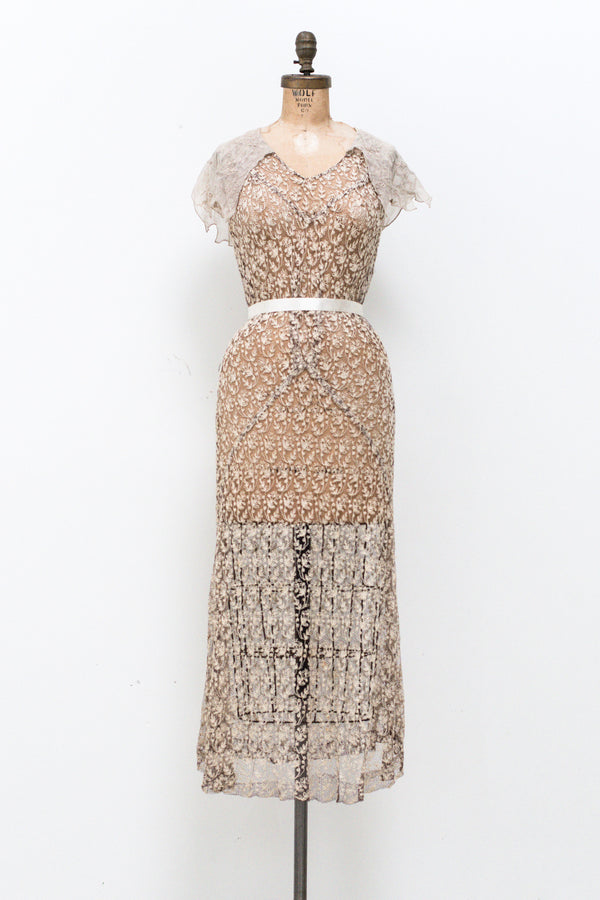 1930s Needle Lace and Muslim Embroidered Gown - XS/S