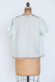 1930s Mint Green and Ecru Silk Crepe Jacket - S/M