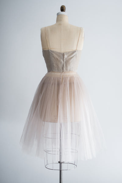 1950s Grey and Mauve Silk Organza and Tulle Underdress - S