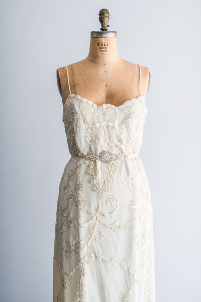 1980's Tulle Lace Embroidered Gown - L