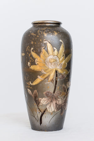 Antique Engraved Floral Japanese Brass Vase
