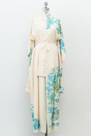 Vintage Ivory and Green Floral Silk Kimono - One Size