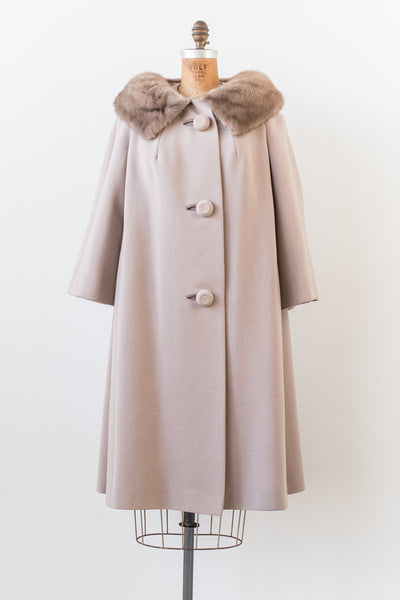 1950s Taupe Mink Collar Swing Coat - L