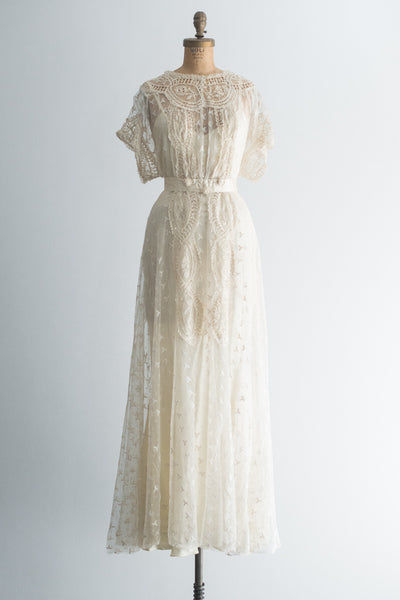 Edwardian Embroidered Tulle Gown - S