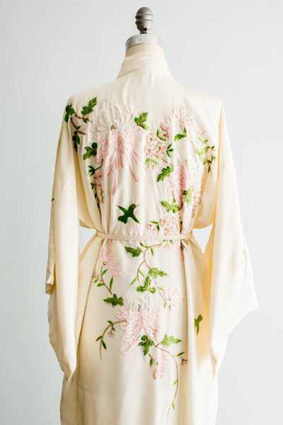 RESERVED Vintage Light Yellow Floral Embroidered Kimono - One Size