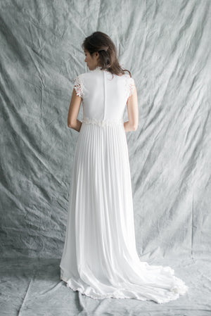 1970s Jersey and Embroidered Lace Gown - S
