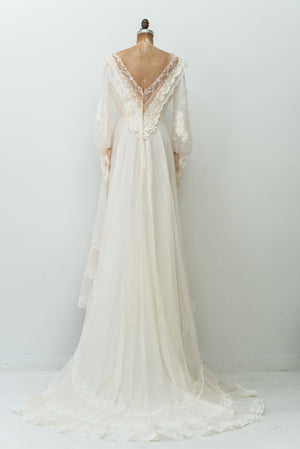 1970s Chiffon Lace Poet Sleeves Gown - S/M