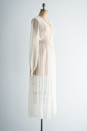 1940s Silk Ivory Dressing Gown - S
