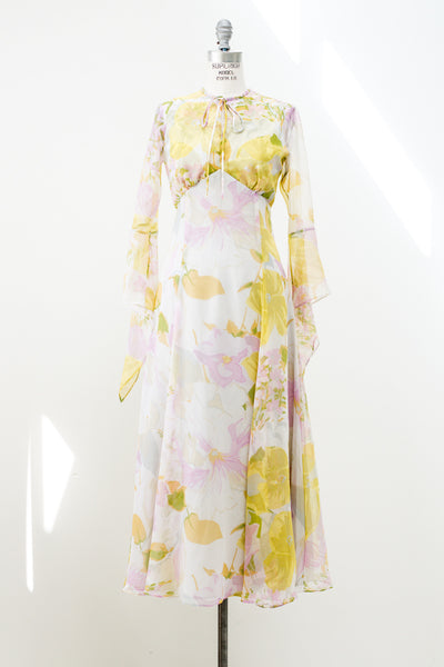 1970s Yellow Floral Print Chiffon Maxi Dress - S