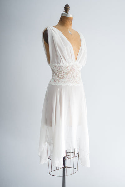 Vintage Chiffon and Lace Sheer Lingerie Dress - M/L