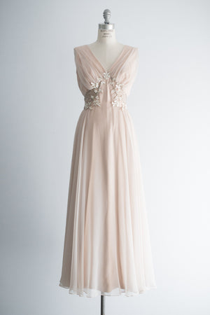 1960s Nude/Peach Chiffon Gown - L