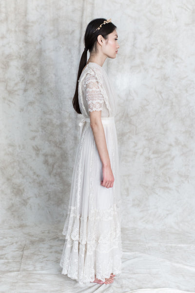 Edwardian Tulle Valenciennes Lace Gown - XS/S