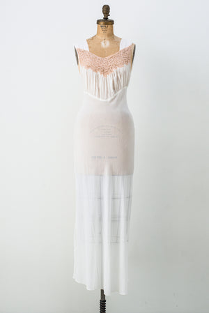 1930s Sheer Chiffon and Lace Slip - XS