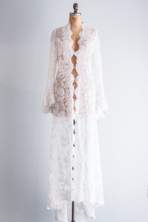Alencon Lace Bell Sleeves Robe - S/M
