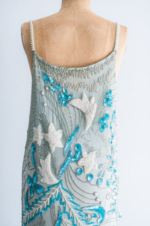 1980's Ombre Turquoise Mermaid Beaded Dress - M/L