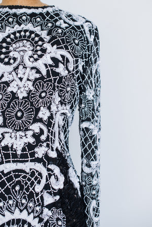 1980s Black and White Silk Beaded Dress - S/M