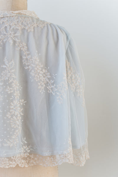 1950s Silk Lace Jacket Lined with Nylon - One Size