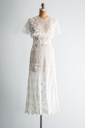Edwardian Batiste Embroidered Dress - S