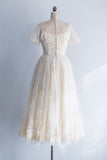 1950s Embroidered Lace Tea-Length Dress - S/M