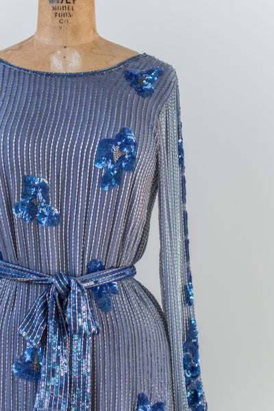 1980s Blue Silk Beaded Dress - M