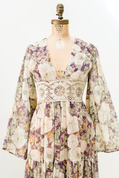 1970 Floral Print Angel Sleeves Maxi Dress - S