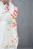 Vintage Ivory and Green Floral Kimono - One Size