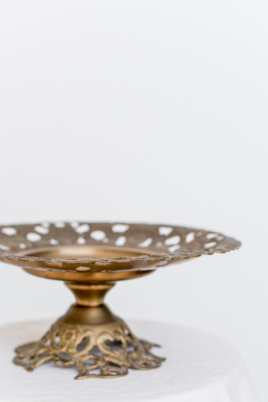 Antique Brass Floral Compote