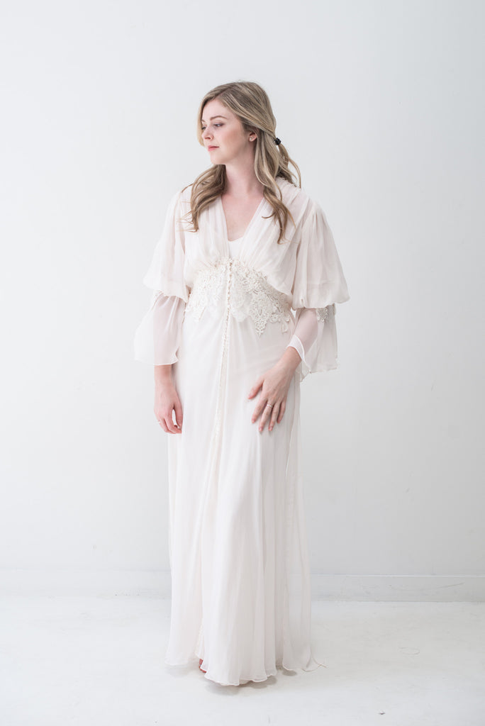 Vintage Light Pink Chiffon Dressing Gown - S ...