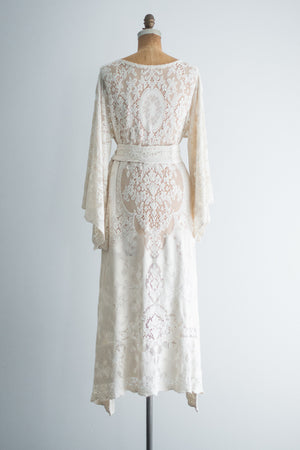 1970s Cotton Crochet Lace Dress - M/L