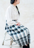 1950s Monochrome Plaid Wool Pleated Skirt - M