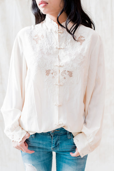 Vintage Ivory Embroidered Silk Blouse - S/M