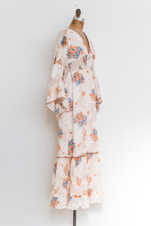 1970s Bell Sleeves Smocked Floral Maxi Dress - XS/S