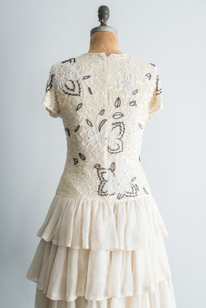 1980s Silk Beaded Tiered Dress - M/L