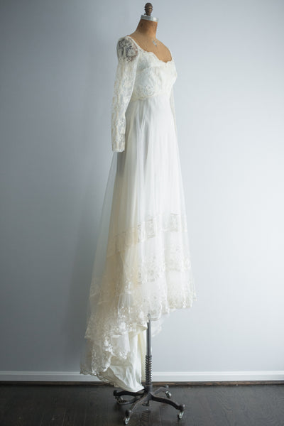 1960s Net Chiffon and Lace Gown - XS/S