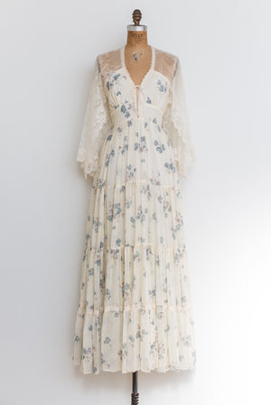 1970s Light Yellow Boho Floral Maxi Dress - S