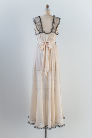 RENTAL 1930s Silk Chiffon and Lace Slip Gown - S