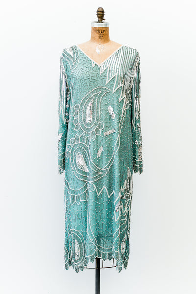 1980s Mint Green Silk Beaded Dress - M/L