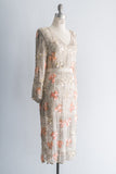 1980's Clover Silk Beaded Dress - S/M