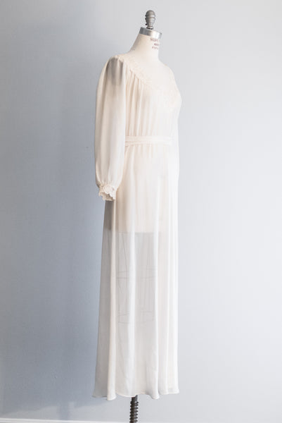 1970s Chiffon Poet Sleeves Gown - M